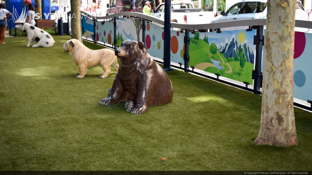 Artificial Turf in a city dog park