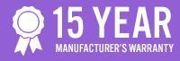 15 year manufacturers warranty